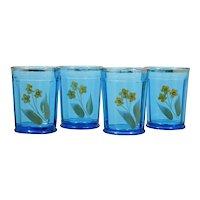 EAPG Northwood Blue Tumblers 14 Panel with Yellow Enameled Flowers Antique Set 4