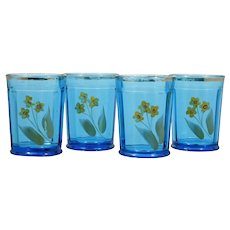 EAPG Northwood Blue Tumblers 14 Panel with Yellow Enameled Flowers Antique Set 4