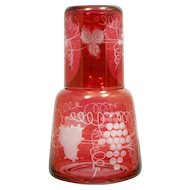 Art Glass Tumble-up Ruby Cut to Clear bedside Decanter Grapes and Leaves Portugal