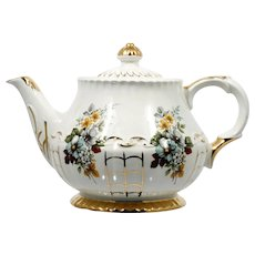 Vintage English Teapot Ellgreave China Flower Bouquet and Gold Lattice