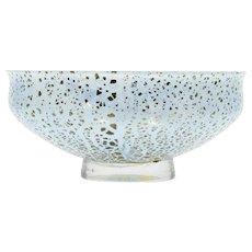 Blue Studio Art Glass Bowl with Gold Aventurine Amethyst Swirl Hand Blown
