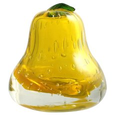 Yellow Art Glass Pear Cased Crystal with Controlled Bubbles Vintage Paperweight