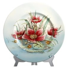 Royal Staffordshire Clarice Cliff Plate Pink Waterlily Flower Vintage England Pottery