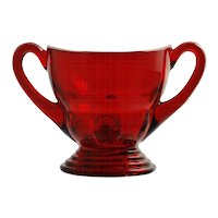 New Martinsville Moondrops Ruby Glass Sugar Bowl Vintage 1930s Elegant Glass Red