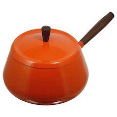 Mid century Modern Enameled Saucepan Fondue Pot Flame Orange Aluminum Wood