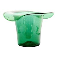 Blenko Emerald Green Art Glass Vase Top Hat Ice Bucket Vintage Hand Blown Home Decor