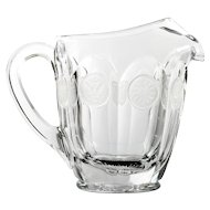 Fostoria Coin Water Pitcher Crystal with Frosted Coins Vintage Elegant Glass