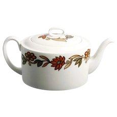Wedgwood Art Nouveau Teapot Susie Cooper Bown Orange Flowers Vintage Porcelain English