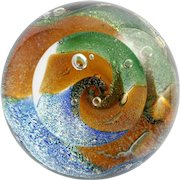 Glass Eye Studio Dichroic Paperweight Hand Made Art Glass Medium Round GES