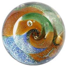 Glass Eye Studio Dichroic Paperweight Hand Made Art Glass Medium Round GES