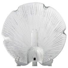 Pukeberg Art Glass Crystal Bowl Ray Pattern Leaf Shell Eva Englund Vintage Scandinavian