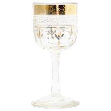 Bohemian Wine Glass Enameled Vintage Art Glass Gold and White Cordial European Antique