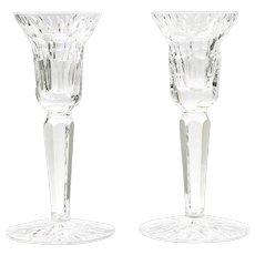 Waterford Crystal Art Glass Candlesticks Pair Irish Cut Glass Candle Holder