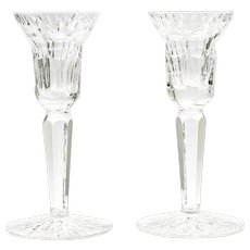 Waterford Crystal Art Glass Candlesticks Pair Irish Cut Glass Candle Holder