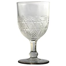 EAPG Antique Glass Goblet Star in Honeycomb Bryce Brothers 1880 Diamond Swag