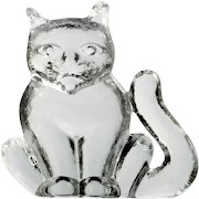 Kosta Boda Zoo Figurine Cat Crystal Art Glass Scandinavian Paperweight