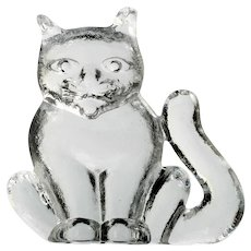 Kosta Boda Zoo Figurine Cat Crystal Art Glass Scandinavian Paperweight
