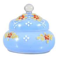 Vintage Czechoslovakian Coralene Art Glass Trinket Box Blue