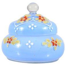 Vintage Czechoslovakian Coralene Art Glass Trinket Box Blue