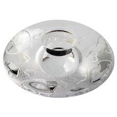 Orrefors Discus Hearts Candle Holder Swedish Art Glass Crystal Original Label