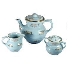 Vintage Turquoise Blue Coffee Pot Set Mid Century Modern Gold Flowers Drip o Lator Creamer Sugar Bowl