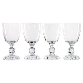 Fostoria American Lady Elegant Glass Water Goblets Vintage Set of 4 Cube Stem