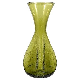 Blenko Crackle Art Glass Vase Olive Green Vintage Mid Century Modern Hand Made