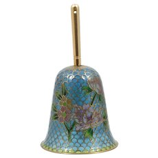 Vintage Plique A Jour Bell with Pink Purple Flowers Brass and Enamel