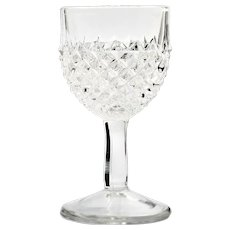 EAPG Sawtooth Antique Wine Glass Pressed Glass Diamond Point Victorian Era