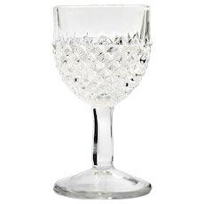 EAPG Sawtooth Antique Wine Glass Pressed Glass Diamond Point Victorian Era