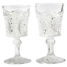 Alfa Euclid Antique Wine Glass Higbee Glass Co 1908 EAPG Pressed Glass Pair