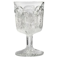 Paneled Thistle EAPG Wine Glass Antique Pressed Glass 1910 Bryce Higbee