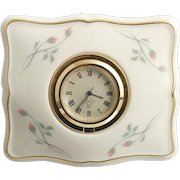 Lenox Porcelain Clock Rose Manor Pink Flower Buds Gold Trim Desk Vanity Accessory