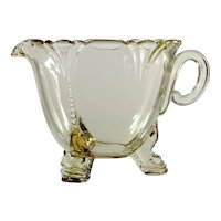 Heisey Empress Sahara Elegant Glass Creamer Yellow Vintage Pitcher Dolphin Foot 1930s