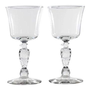 Libbey Eagle Stem Wine Glass Vintage Liberty Bell 1974 Elegant Glass Pair