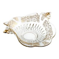 Duncan and Miller Elegant Etched Glass Bowl Gold Encrusted Diamond Bowl flowers