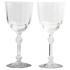 Fostoria Elegant Glass Water Goblets Pair Paneled Diamond Stem 6007 Vintage Crystal