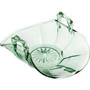 Cooperative Flint Glass 533 Green Elegant Glass Bon Bon Bowl Mint Dish Vintage