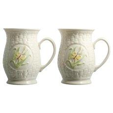 Belleek Butterfly Mugs Irish Porcelain Vintage Basketweave Pair Pottery Cups