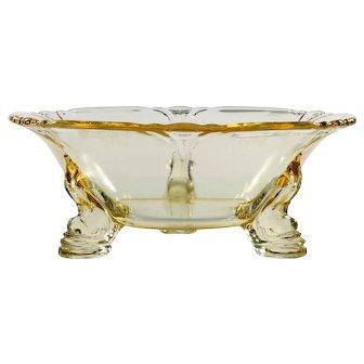 Heisey Empress Sahara Elegant Glass Bowl Yellow Vintage Dolphin Foot 1930s