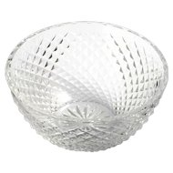 Waterford Alana Cut Crystal Bowl Irish Art Glass Round Diamond Point Pattern