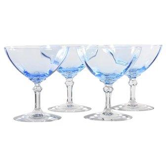 Fostoria Blue Vintage Saucer Champagne Glasses Elegant 1930s Crystal Stems