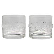 Iittala Niva On the Rocks Tumblers Vintage Glass Finland Tapio Wirkkala Pair