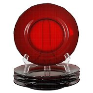 New Martinsville Plates Addie Ruby Red Elegant Glass 12 Point Vintage Paneled