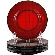 New Martinsville Plates Addie Ruby Red Elegant Glass 12 Point Vintage Paneled