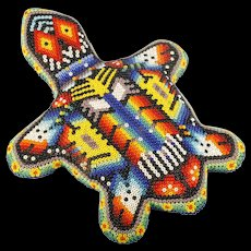 Huichol Bead Art Turtle Mexican Indian Hand Crafted Terrapin