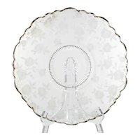 Cambridge Glass Blossom Time Platter Vintage Elegant Etched Glass Gold Trim Flowers Martha