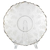 Cambridge Glass Blossom Time Platter Vintage Elegant Etched Glass Gold Trim Flowers Martha