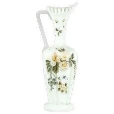 Victorian Art Glass Ewer Pitcher Vase Hand Enameled Flowers Antique Custard Glass