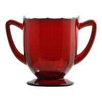 New Martinsville Addie Ruby Red Elegant Glass Sugar Bowl 12 Point Vintage Paneled